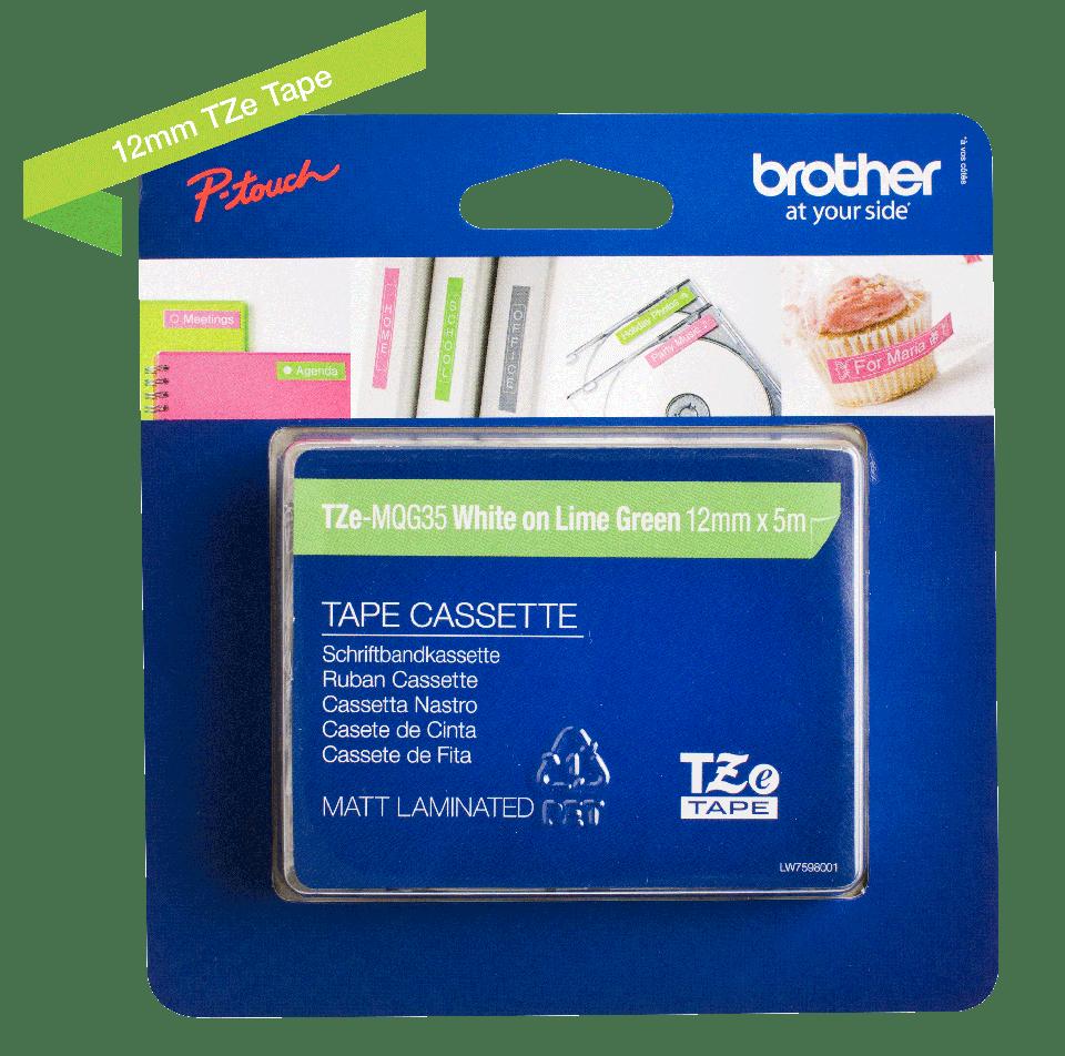 Brother TZe-MQG35 Schriftband – weiß auf apfelgrün (matt) 4
