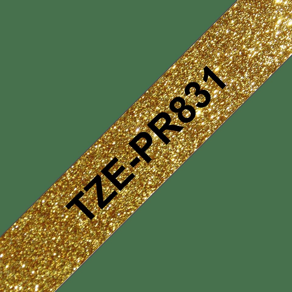 Brother TZe-PR831 Schriftband – schwarz auf glitzergold 3