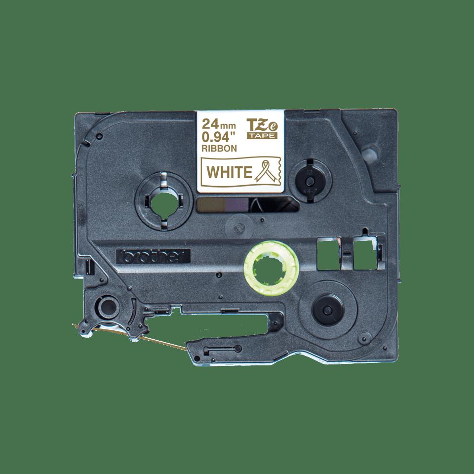 Brother TZe-R254 Textilband – gold auf weiß