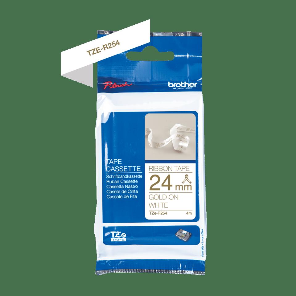Brother TZe-R254 Textilband – gold auf weiß 2