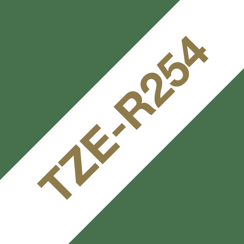 Brother TZe-R254 Textilband – gold auf weiß 3