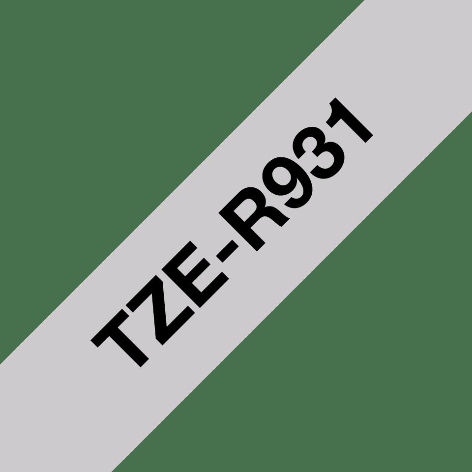 Brother TZe-R931 Textilband – schwarz auf silber 3