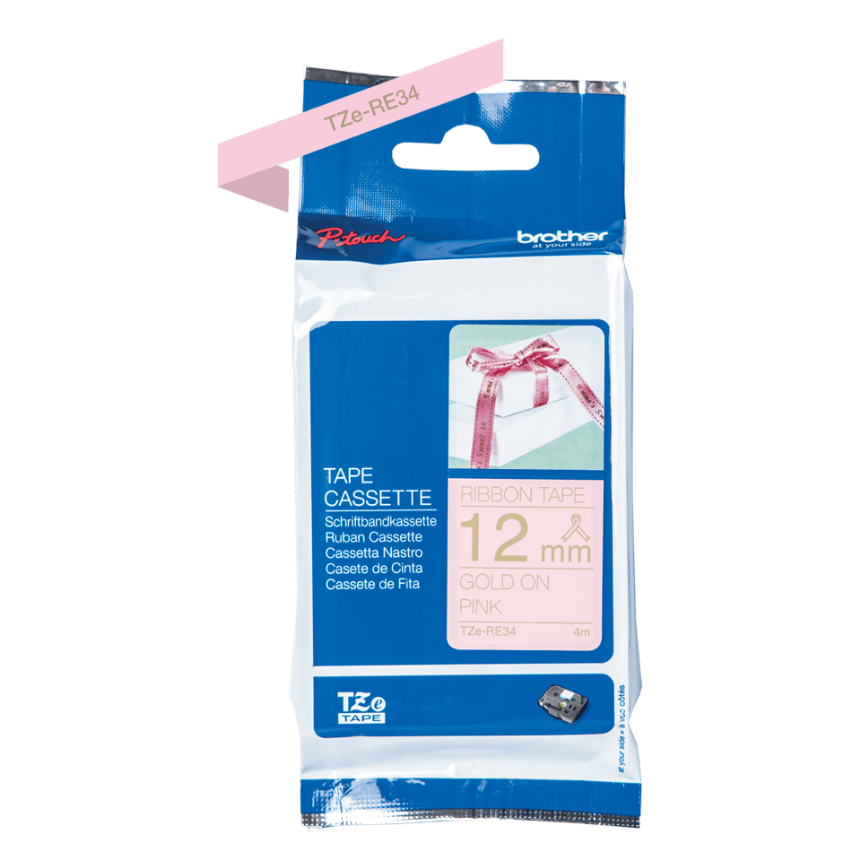 Brother TZe-RE34 Textilband – gold auf rosa 2