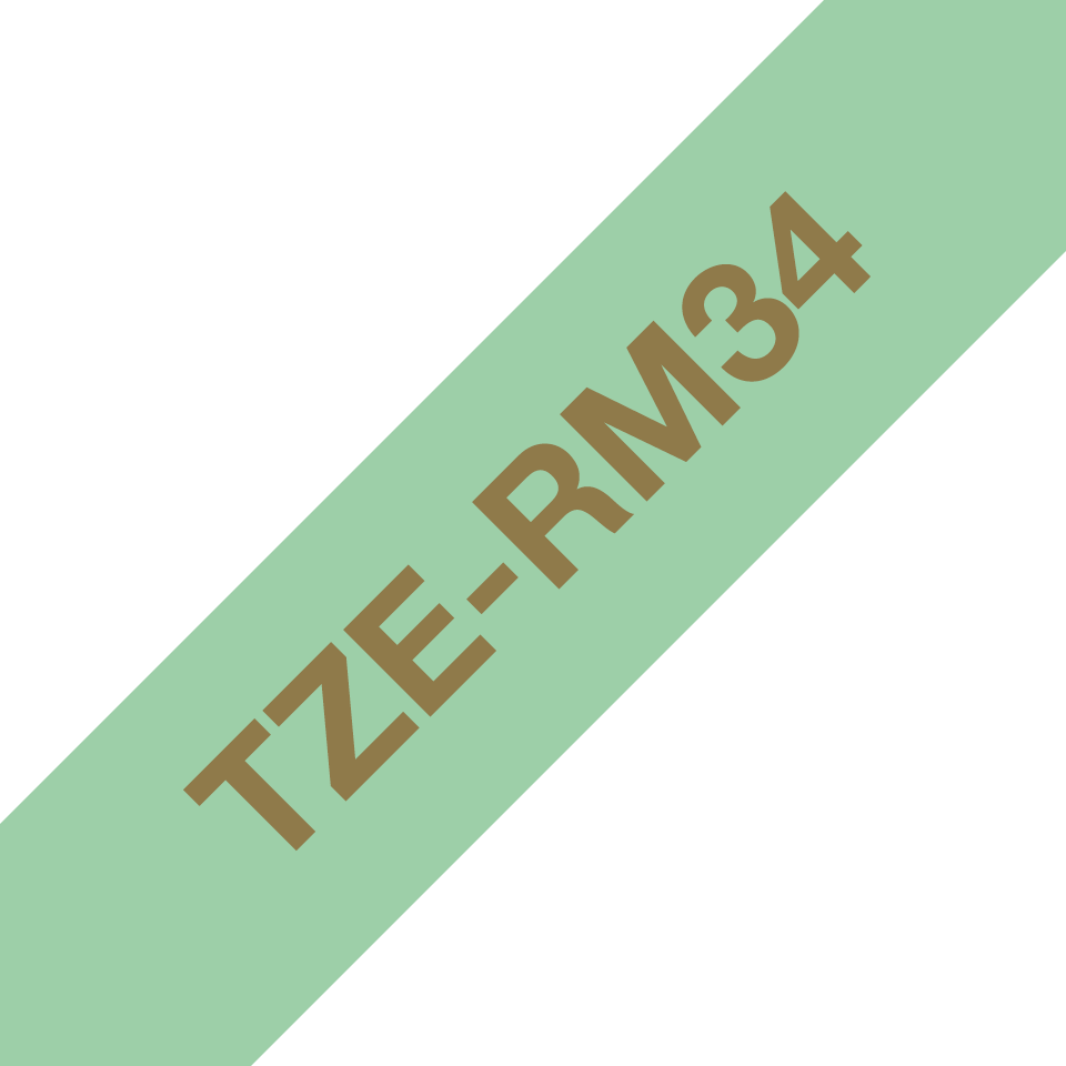 Brother TZe-RM34 Textilband – gold auf mintgrün 3