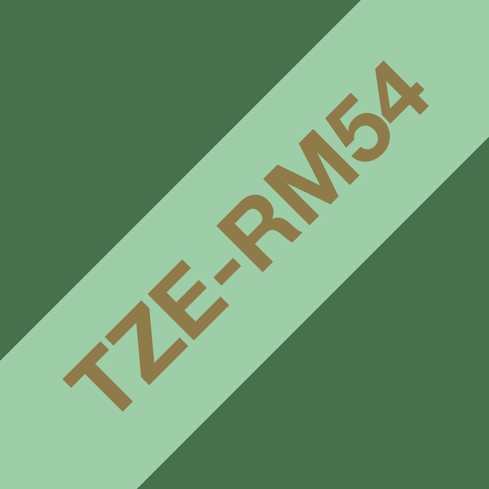 Brother TZe-RM54 Textilband – gold auf mintgrün 3