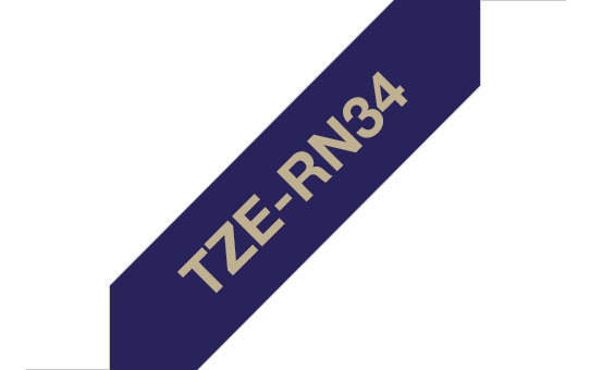 Brother TZe-RN34 Textilband – gold auf marineblau 2