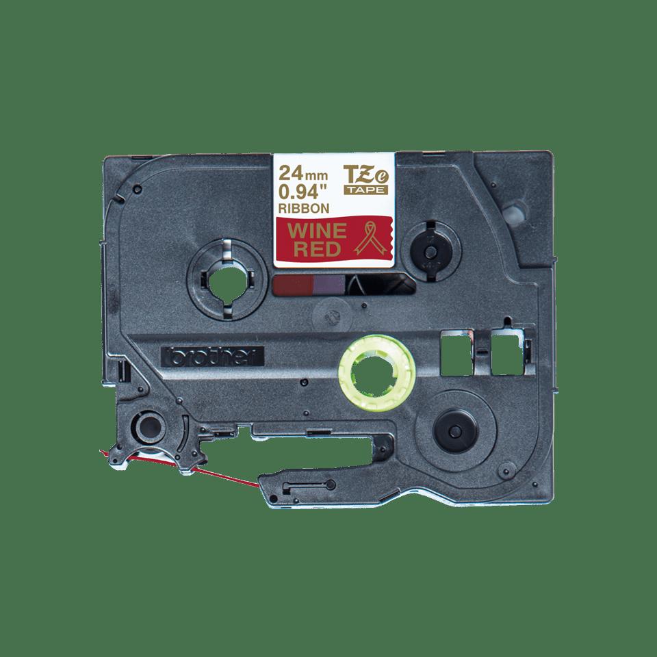 Brother TZe-RW54 Textilband – gold auf weinrot