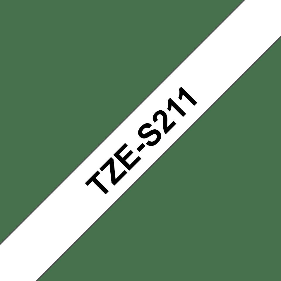 Brother TZe-S211 Schriftband – schwarz auf weiß 2
