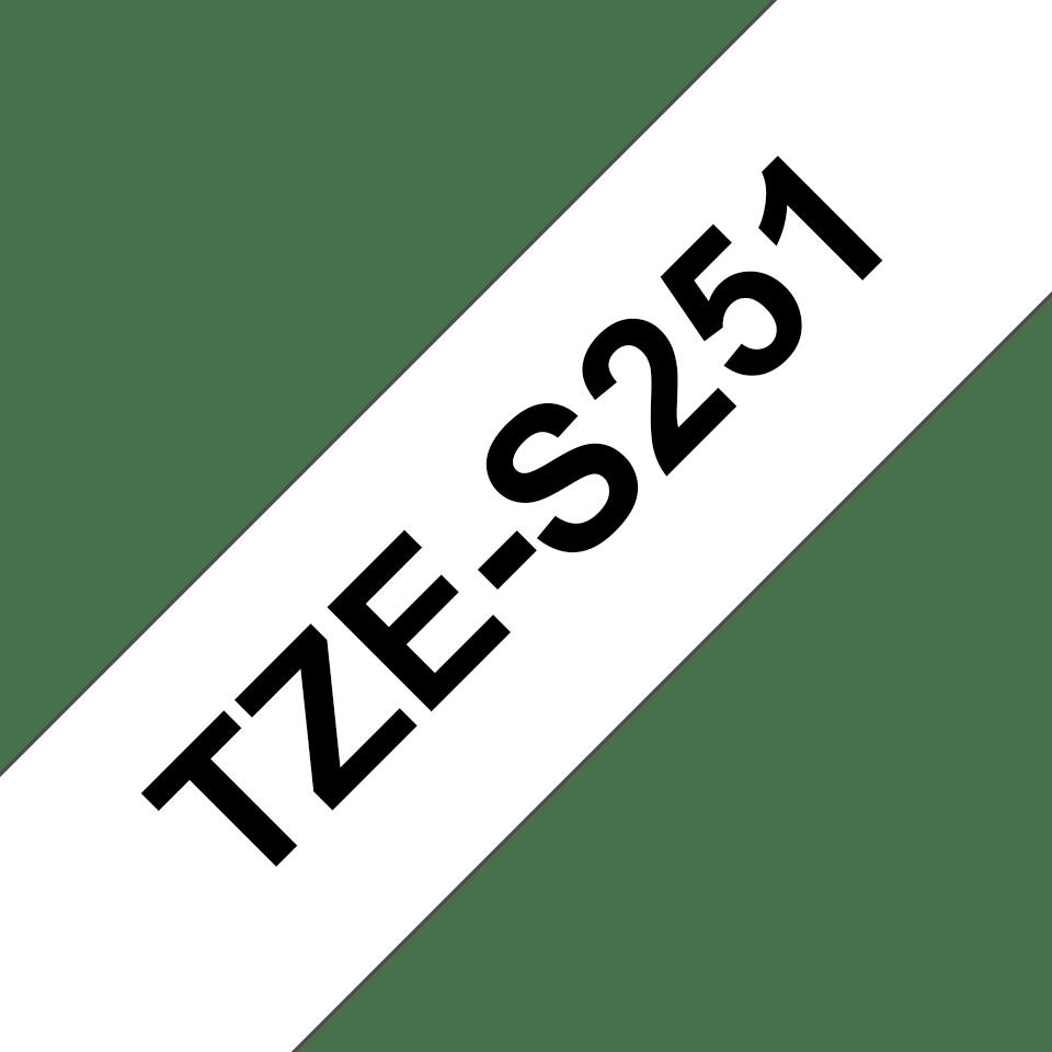 Brother TZe-S251 Schriftband – schwarz auf weiß 2