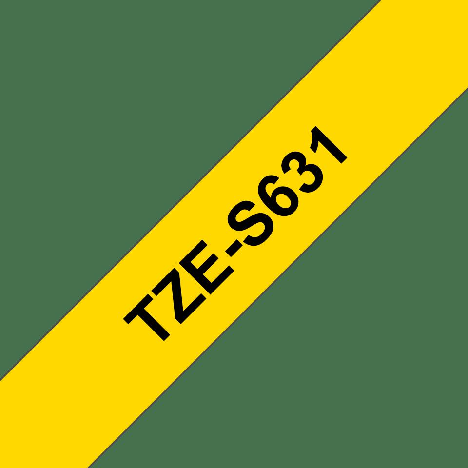 Brother TZe-S631 Schriftband – schwarz auf gelb 3